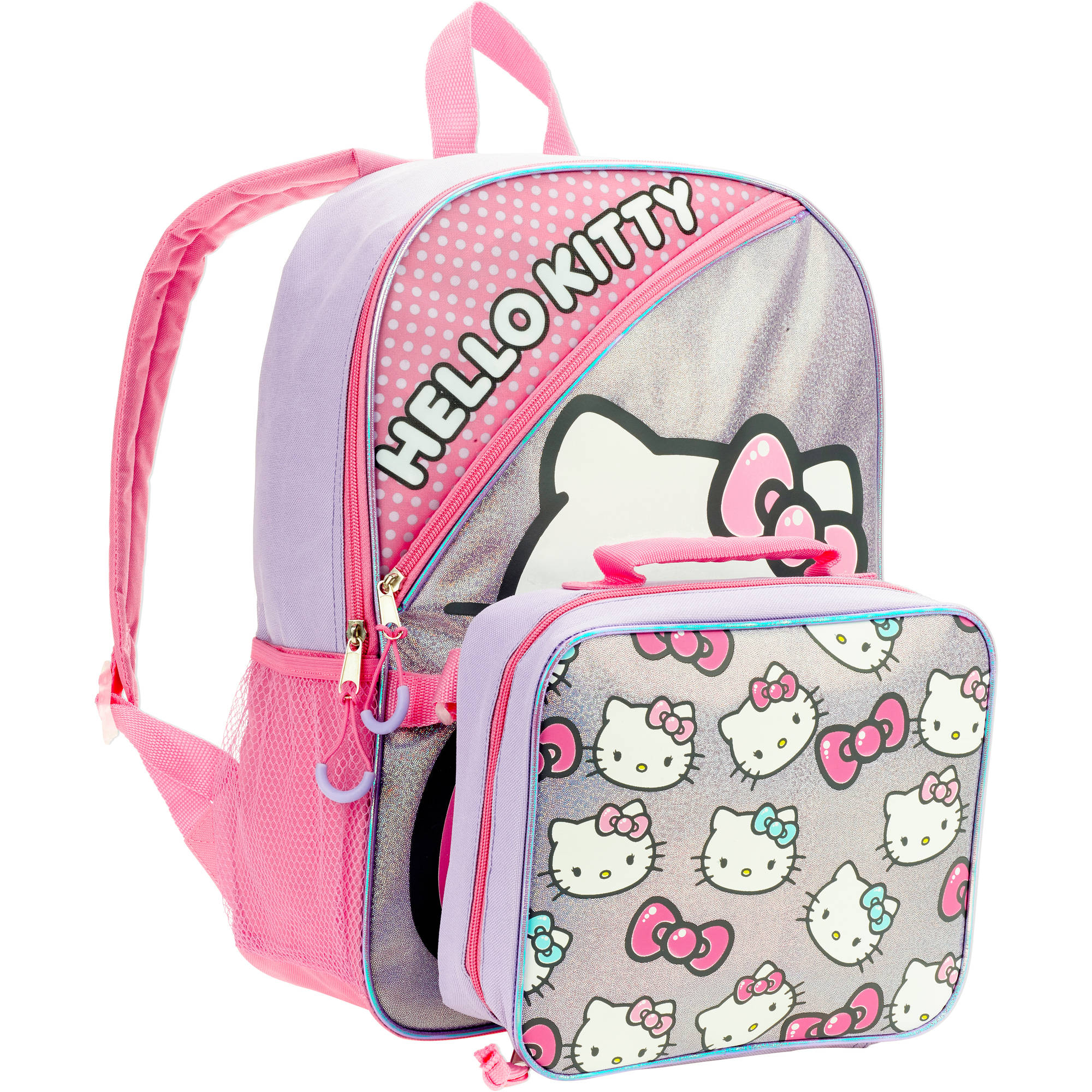 "16"" San-Rio Hello Kitty Full Size Backpack w/ Detachable Lunch Bag"
