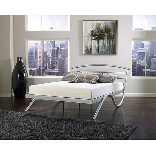 premier annika queen metal platform bed frame nickel. Black Bedroom Furniture Sets. Home Design Ideas