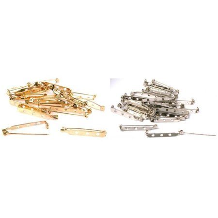 fae38b4dce0 FindingKing - Gold & Nickel Plated Bar Pin Back Jewelry Broach Findings Kit  45 Pcs - Walmart.com