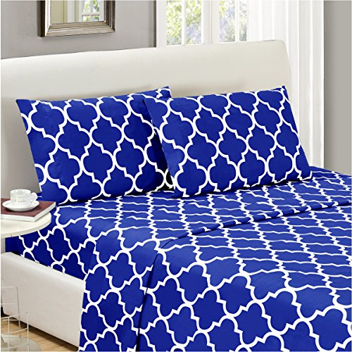 Mellanni Bed Sheet Set Queen - HIGHEST QUALITY Brushed Microfiber Printed Bedding - Deep Pocket, Wrinkle, Fade, Stain Resistant - Hypoallergenic - 4 Piece (Queen, Quatrefoil Imperial Blue)