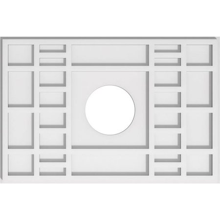 Ekena Millwork CMP22X14BX-05000 5 in. ID x 7.5 in. Rectangle Beaux Architectural Grade PVC Contemporary Ceiling Medallion - image 1 of 1