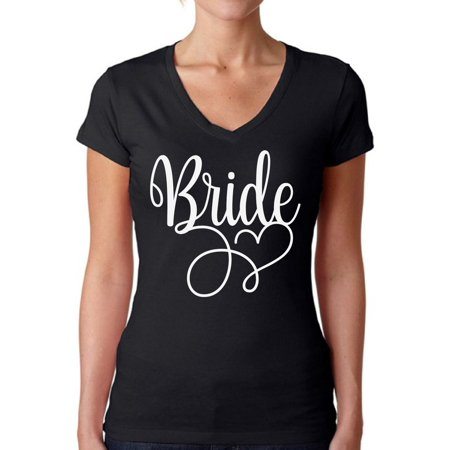 Awkward Styles Bride V-Neck Shirt Bridesmaid V-Neck Shirt for Her Bridesmaid Shirt for Women Cute Wedding Gifts for Her Bridal Party Outfit Bachelorette Party T Shirts for Bridesmaids Squad Shirt Ladies Bridal Suits