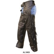 Men's Motorcycle Medium Size Braided & Fringe Lined Buffalo Leather Chaps With Silver Hardware