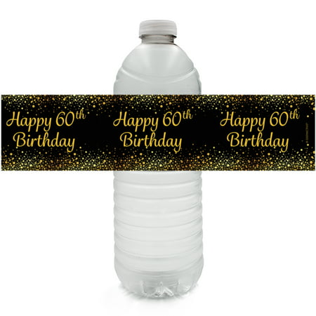 60th Birthday Water Bottle Labels 24 Ct