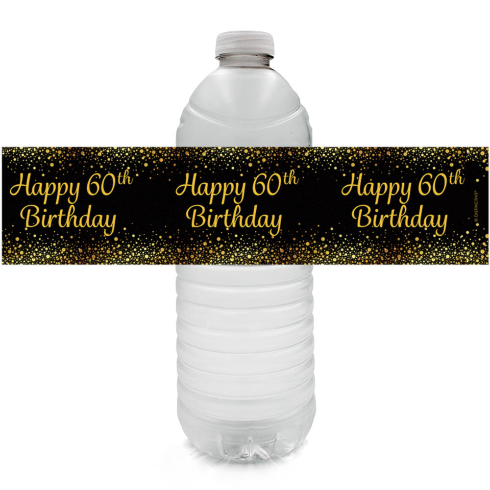 60th Birthday Water Bottle Labels, 24 ct - Adult Birthday Party Supplies Black and Gold 60th Birthday Party Decorations Favors - 24 Count Sticker Labels