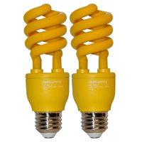 SleekLighting 13 Watt Yellow Bug Light Spiral CFL Light Bulb- UL Approved- 120 Volt, E26 Medium Base. (Pack of 2)