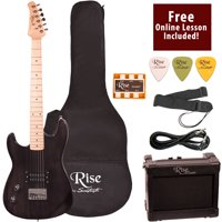 Rise by Sawtooth Left Handed 3/4 Size Beginner's Electric Guitar with Gig Bag Soft Case, Amp & Accessories, Transparent Black