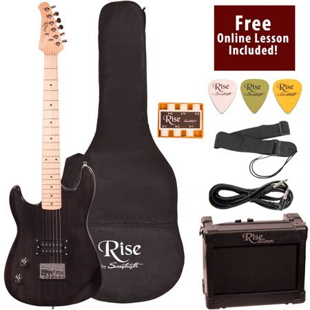 Rise by Sawtooth Left Handed 3/4 Size Beginner's Electric Guitar with Gig Bag Soft Case, Amp & Accessories, Transparent