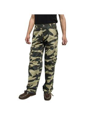 Mens Military-Style Camoflage Cargo Pants #27C1 32x32 Khaki