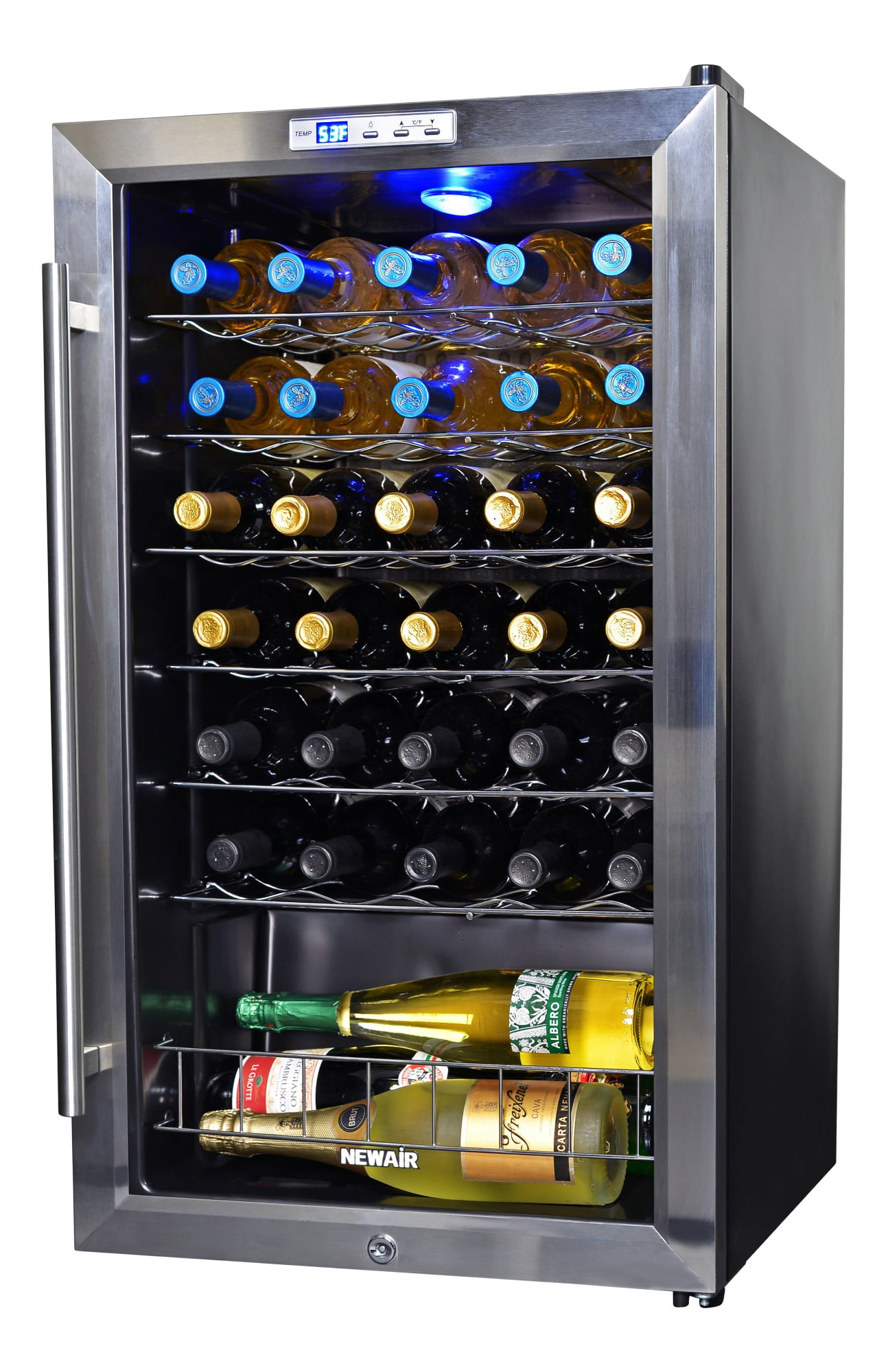 Newair Freestanding 33 Bottle Compressor Wine Fridge In Stainless Steel Adjustable Chrome Racks And Exterior Thermostat Walmart Com Walmart Com