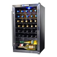NewAir Freestanding 33 Bottle Compressor Wine Fridge in Stainless Steel, Adjustable Chrome Racks and Exterior Thermostat