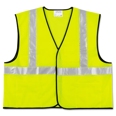 Click here to buy Class 2 Safety Vest, Fluorescent Lime w Silver Stripe, Polyester, Large, Sold as 1 Each.