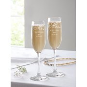 Personalized Mr. and Mrs. Champagne Flutes, Set of 2