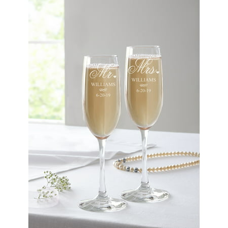 Personalized Mr. and Mrs. Champagne Flutes, Set of 2 - Custom Champagne Flutes