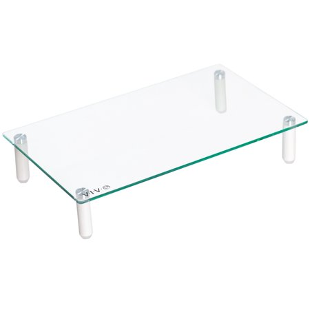 "VIVO Glass Ergonomic Universal 15.7"" Tabletop Monitor Riser | Mid-Sized Desktop Stand (STAND-V000T)"