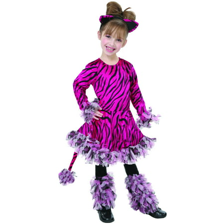 Living Fiction Adorable Tiger Animal Halloween 3pc Girl Costume, Pink (Pulp Fiction Mia Halloween Costume)