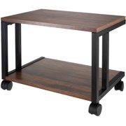 Industrial End Table, 2-Tier Side Table, Storage Shelf, Rustic Brown and Black, Desktop Printer Stand