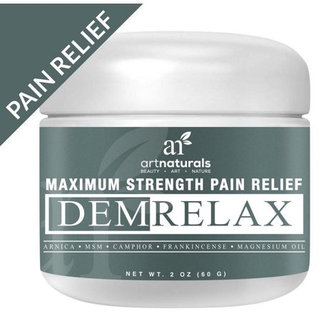 Art Naturals Demrelax Pain Relief Cream 2 0 Oz   Helps Relieve Sore Joints  Muscles  Back  Neck Pain   Arthritis   Maximum Strength Treatment   Arnica  Msm   Magnesium   Naturally Derived Ingredients