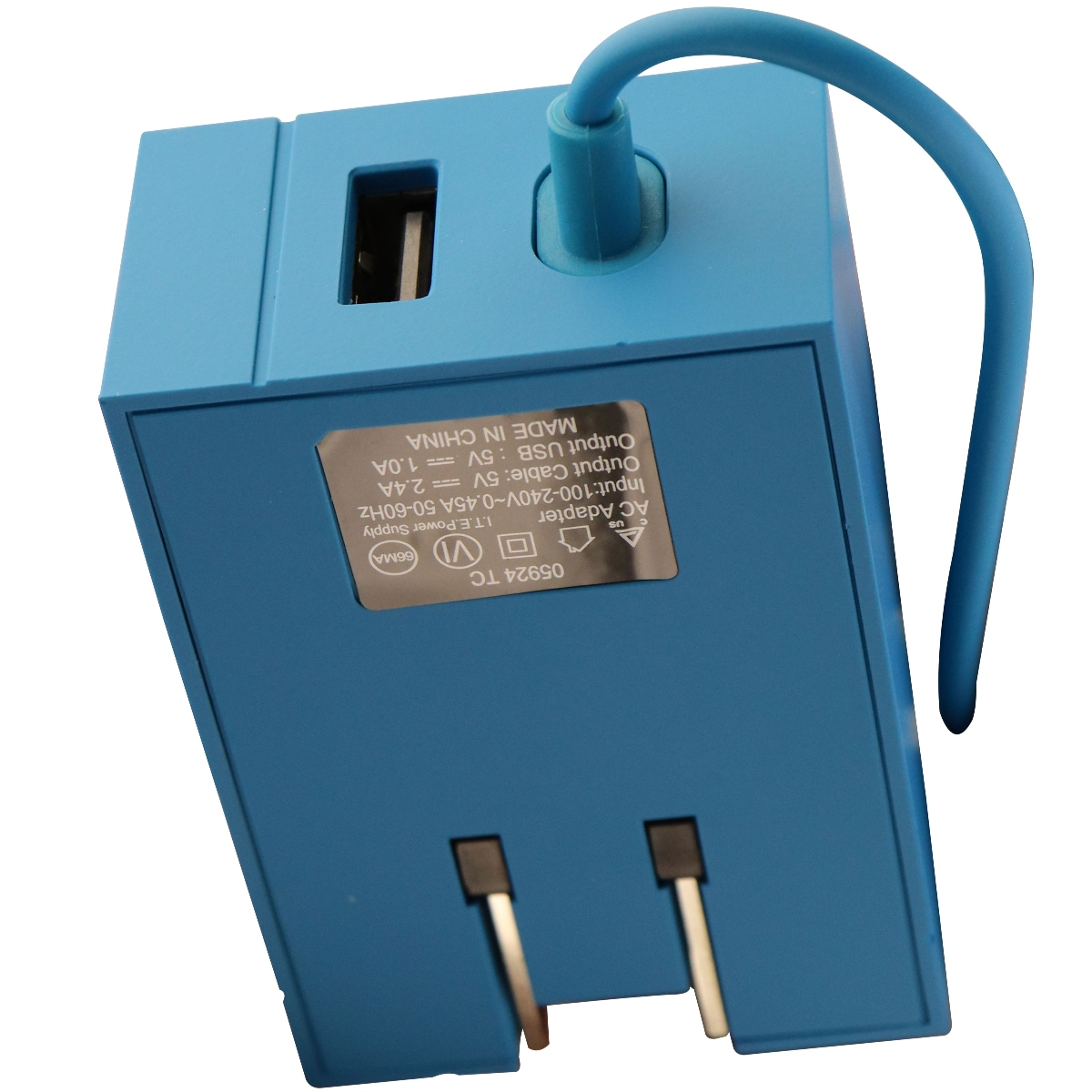 T-Mobile 4Ft Corded 2.4A Micro-USB Wall charger with 1A Extra USB Port - Blue (Refurbished)