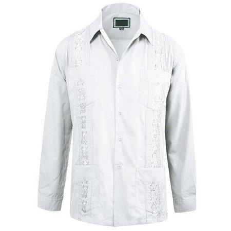 Maximos Men's Guayabera Cuban Style Casual Vacation Bartender Wedding Button Up Long Sleeve Dress Shirt White - Cuban Attire