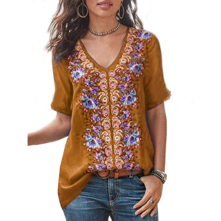 UKAP Womens Vintage Floral Printed Half Sleeve V Neck Casual Shirts Tops Tunic Blouse Plus Size (Mini Vintage Tunic)