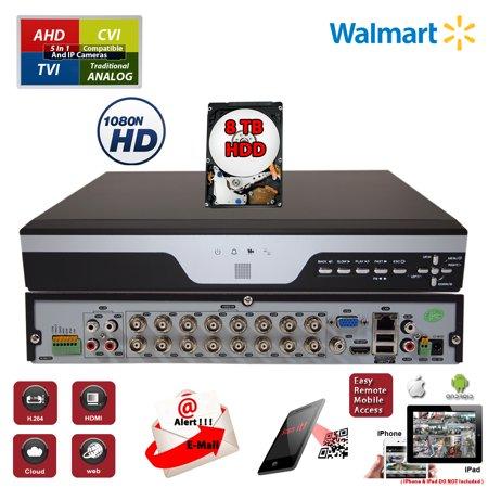 - Evertech 16 Channel H.264 Digital Video Recorder 4in1 AHD TVI CVI Analog CCTV Security Camera DVR w/8TB HDD