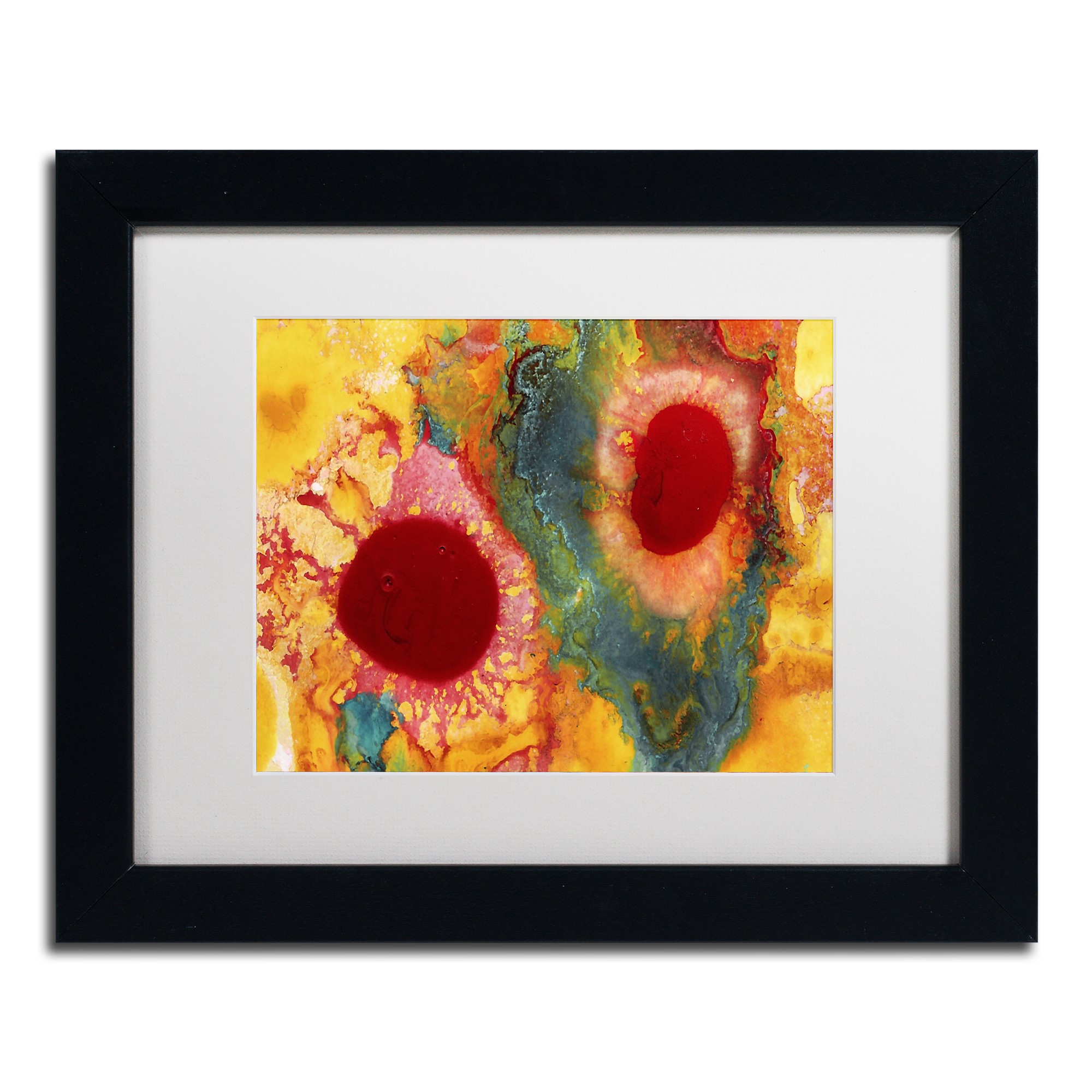 Trademark Fine Art 'Abstract Red Daisies' Canvas Art by Amy Vangsgard, White Matte, Black Frame