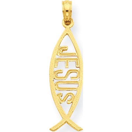 Leslies Fine Jewelry Designer 14k Yellow Gold Ichthus Fish with Jesus (9x30mm) Pendant Gift Box Included ()