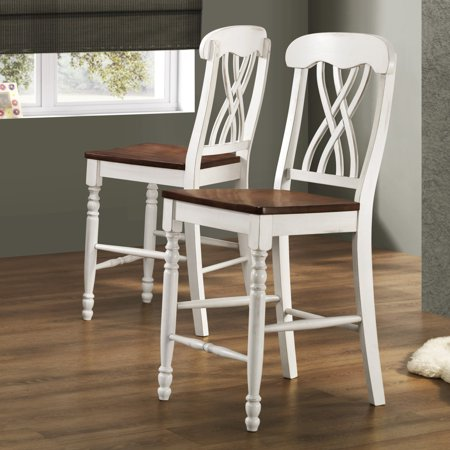 Oak Counter Height Side Chair - Weston Home Two Tone Counter Height Chair, Set of 2, Antique White & Warm Cherry