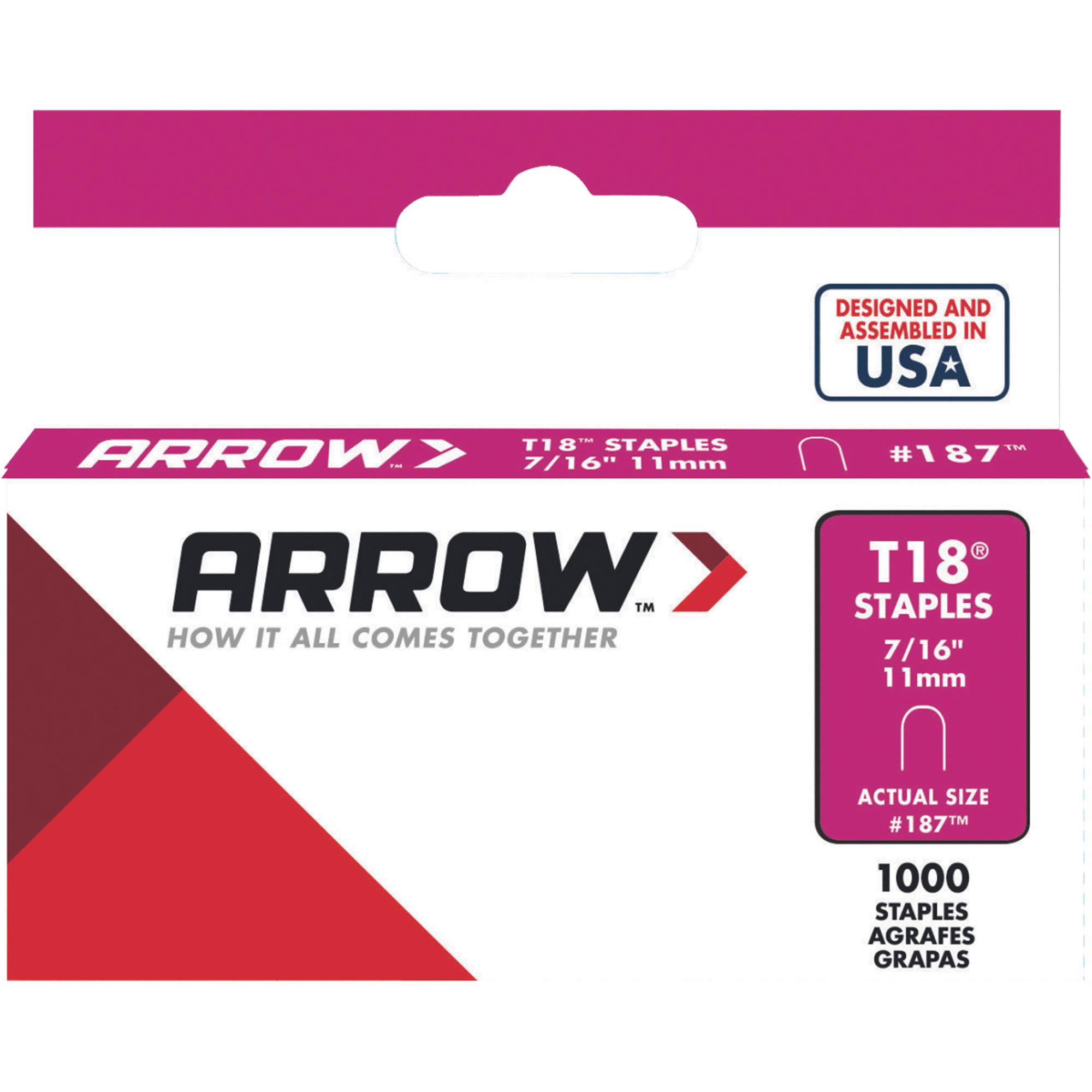Arrow 7/16-Inch T18 Staples, 1000 Count