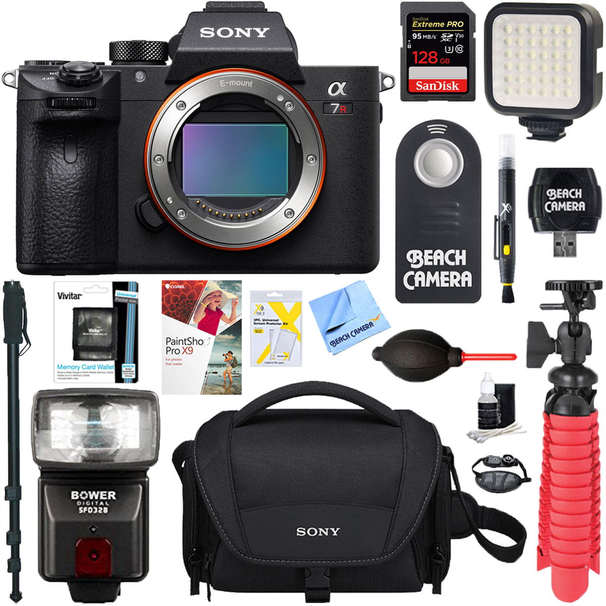 Sony a7R III 42.4MP Full-frame Mirrorless Interchangeable Lens Camera Body + 64GB Memory & Flash a7RIII Accessory Bundle