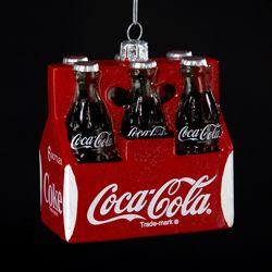 """Pack of 6 Classic Coca-Cola Six-Pack Glass Bottles Christmas Ornaments 3.5"""""""
