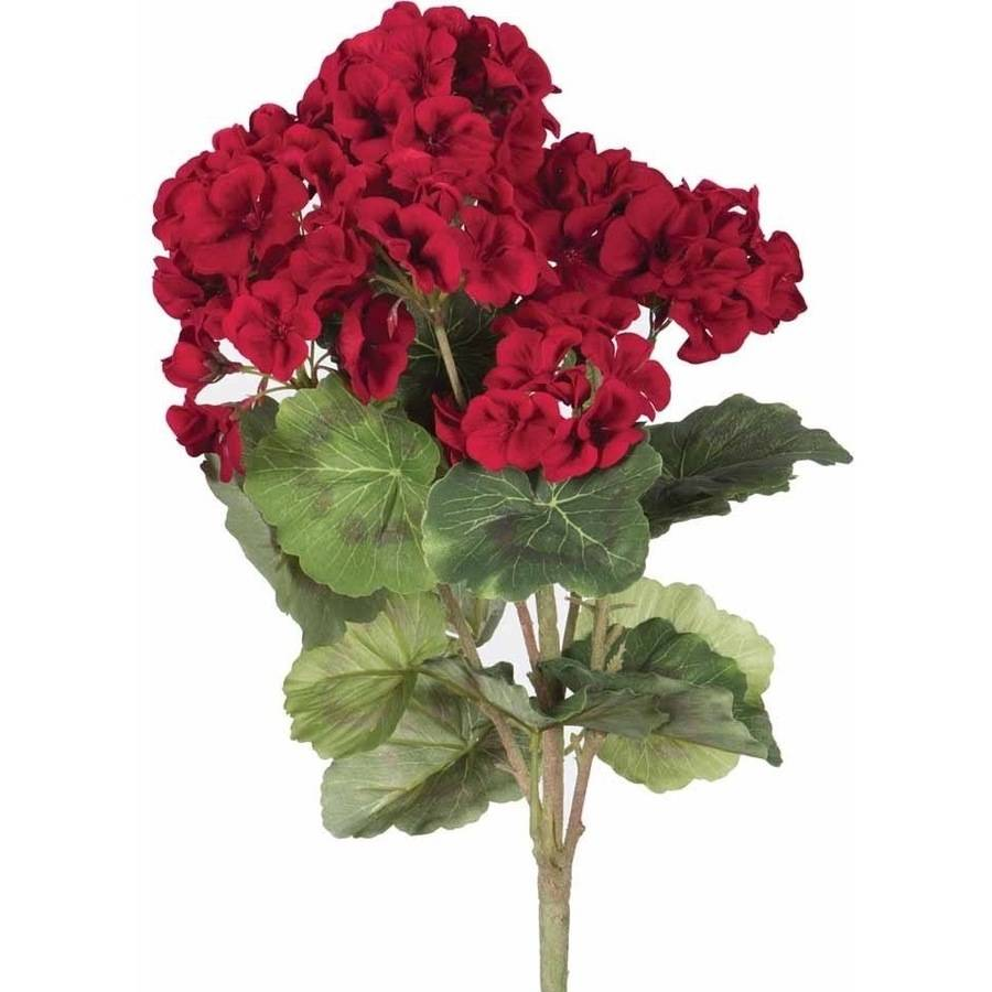 "Vickerman 18"" Artificial Red Geranium Bush"