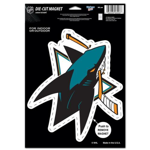 San Jose Sharks Official NHL 6 inch x 9 inch  Car Magnet by Wincraft