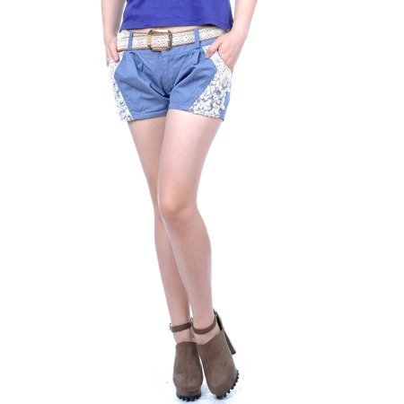 - Free Size Pastel Baby Blue Lace Faux Pearl Embroidery Belt Shorts
