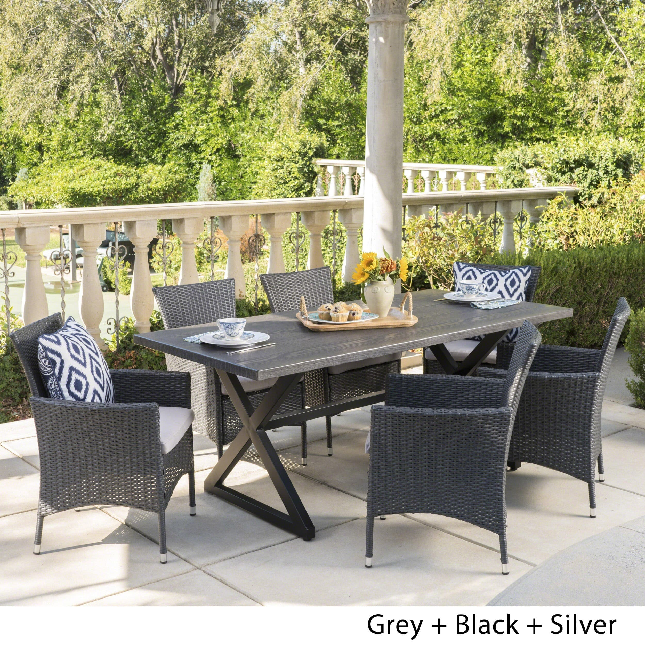 Christopher Knight Home Dion Outdoor 7-piece Rectangular Wicker Aluminum Dining Set with Cushions by  Grey + Black + Silver