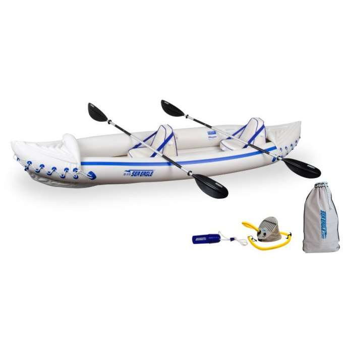 SEA EAGLE 370 Professional 3 Person Inflatable Sport Kayak Canoe w/ Paddles