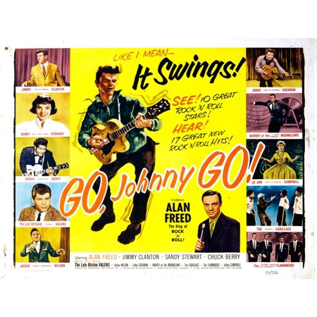 Go Johnny Go Jimmy Clanton Sandy Stewart Chuck Berry Ritchie Valens Jackie Wilson Eddie Cochran Harvey Fuqua Jo Ann Campbell The Cadillacs The Flamingoes Alan Freed 1959 Movie Poster Masterprint