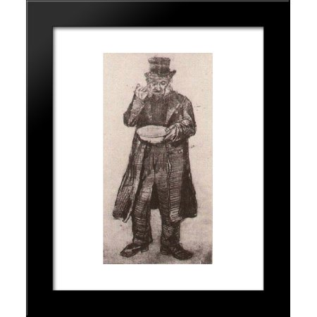 Orphan Man with Top Hat, Eating from a Plate 20x24 Framed Art Print by Vincent van Gogh - Man Eating Plant