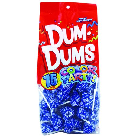 Dum Dums Color Party Lolipops, Blue, Blueberry Flavor, 12.8 oz, 75 Count Bag - Dum Dums Flavors