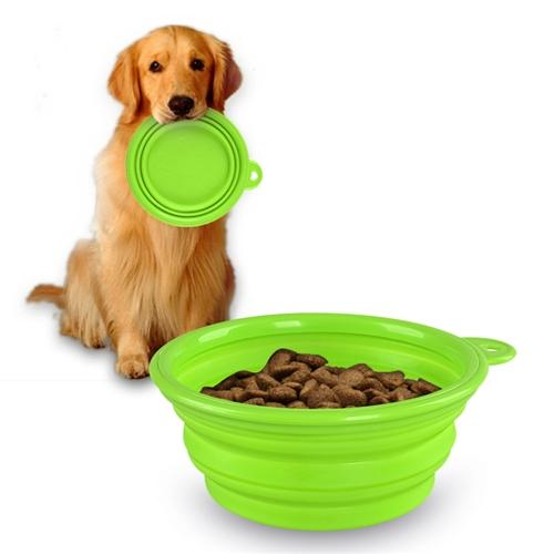 Insten Green Cute Pet Dog Cat Silicone Portable Collapsible Travel Bowl Feeding Water Feeder