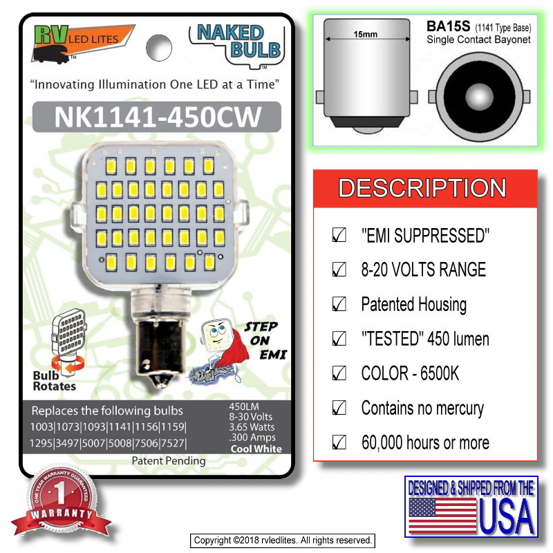 NK-921-450CW, (NAKED BULB) LED Replacement EMI Suppressed