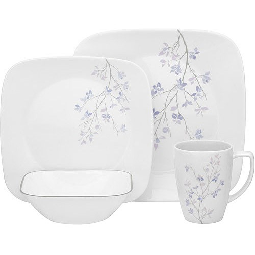 Corelle Square Jacaranda 16-Piece Dinnerware Set  sc 1 st  Walmart : world kitchen corelle square dinnerware - pezcame.com