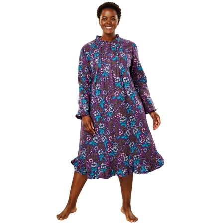 Only Necessities Plus Size Cotton Flannel Print Short Gown ()