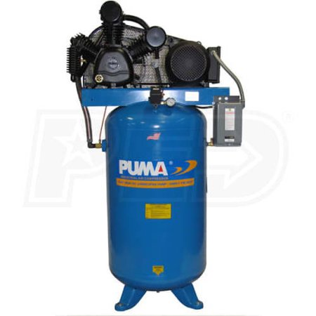 Puma Industries Air Compressor  Tue 7580Vm3  Professional Commercial Industrial Two Stage Belt Drive Series  7 5 Hp Running  175 Max Psi  230  460 3 Voltage Phase  80 Gallons  550 Lbs