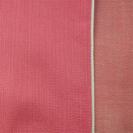 Hot Pink Cotton Lycra Selvedge Denim Fabric By The Yard