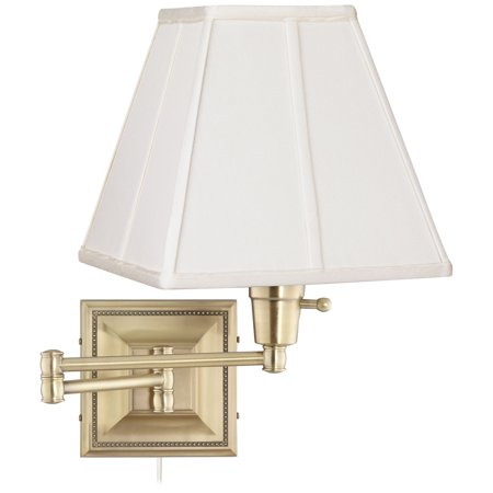Gold Western Style Mounting - Barnes and Ivy Ivory Square Shade Brass Beaded Plug-In Style Swing Arm Wall Lamp