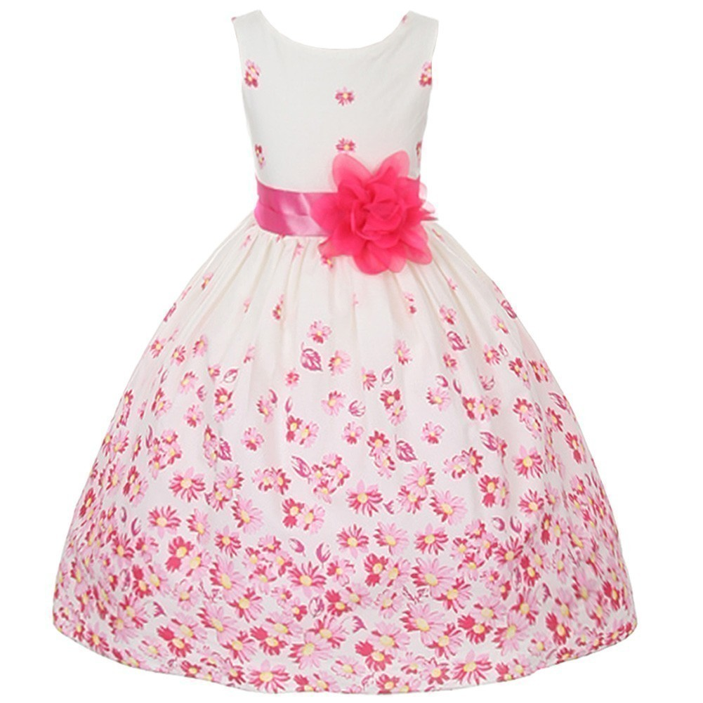 Kids Dream Girls Fuchsia White Daisy Special Occasion Dress 10