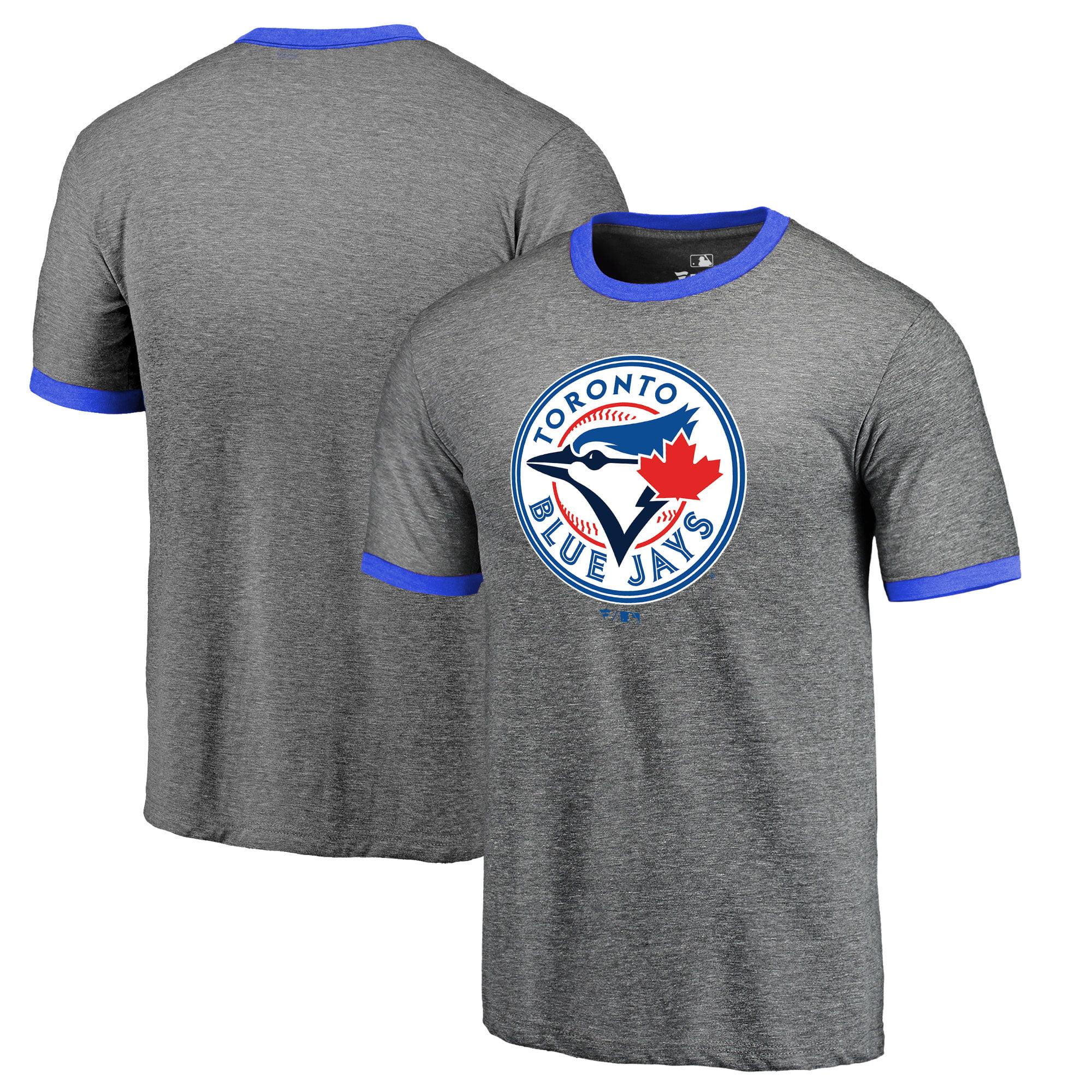 Toronto Blue Jays Fanatics Branded Refresh Ringer Team Wordmark T-Shirt - Heathered Gray