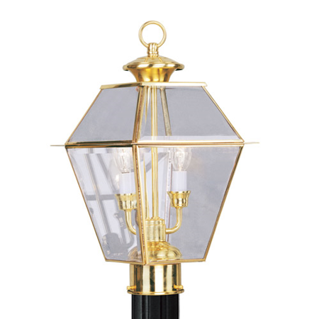 Outdoor Post 2 Light With Clear Beveled Glass Polished Brass Finish size 17 in 120 Watts - World of